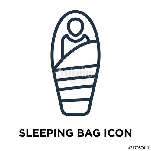500x500 Sleeping Bag Icon Vector Isolated On White Background, Sleeping