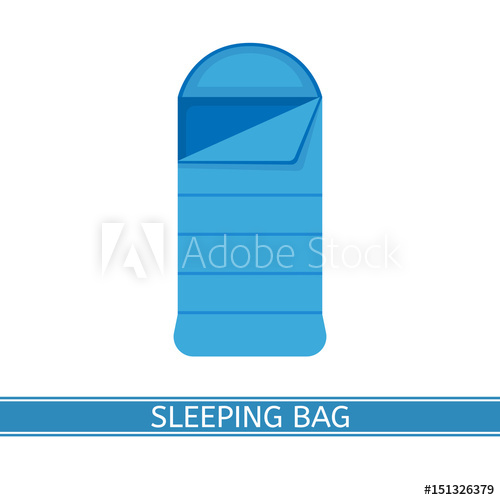 500x500 Vector Illustration Of Sleeping Bag. Camp Bed Icon In Flat Style