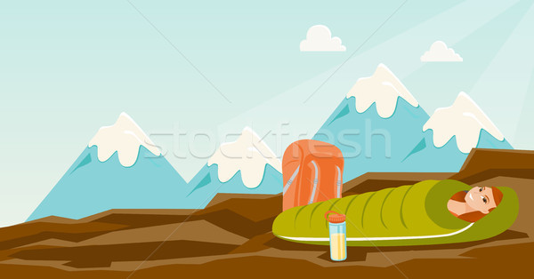 600x314 Woman Sleeping In A Sleeping Bag In The Mountains. Vector