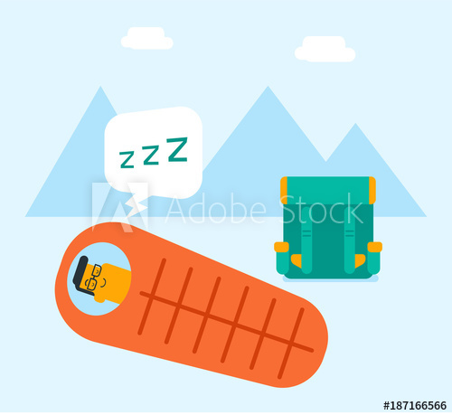 500x459 Young Caucasian White Man Sleeping In A Sleeping Bag During A Hike