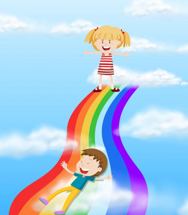 626x713 Children Sliding Down A Rainbow Vector Free Download