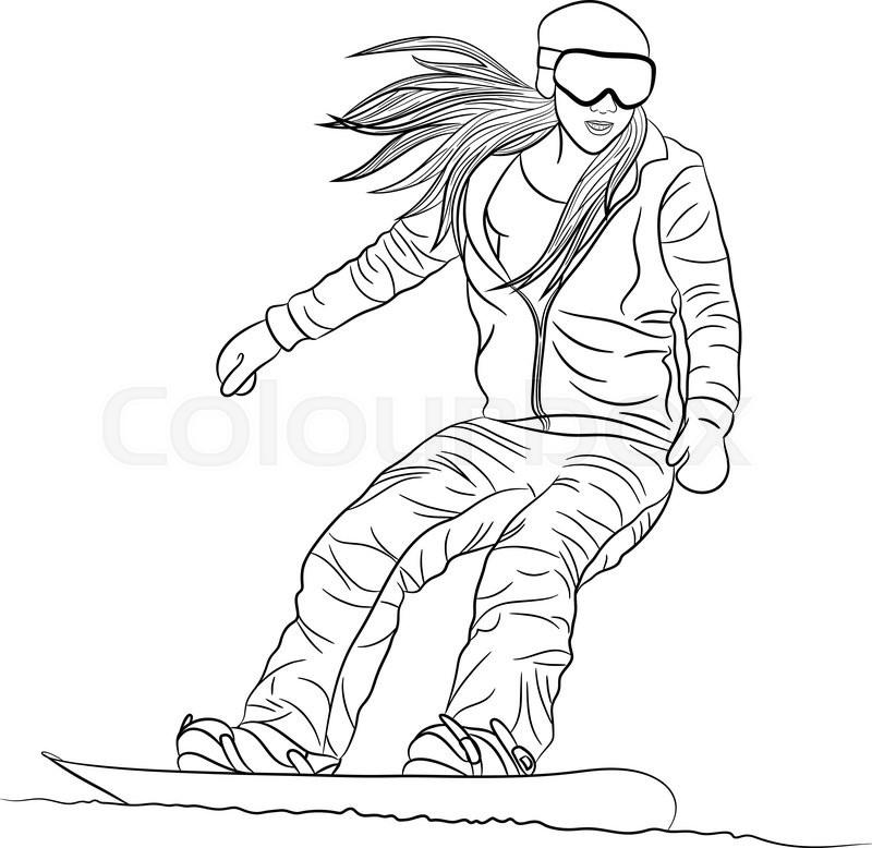 800x778 Girl Snowboarder Sliding Down. Outline Vector Illustration Eps8