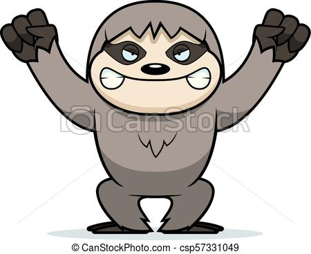 450x367 Angry Cartoon Sloth. A Cartoon Illustration Of An Angry Looking Sloth.
