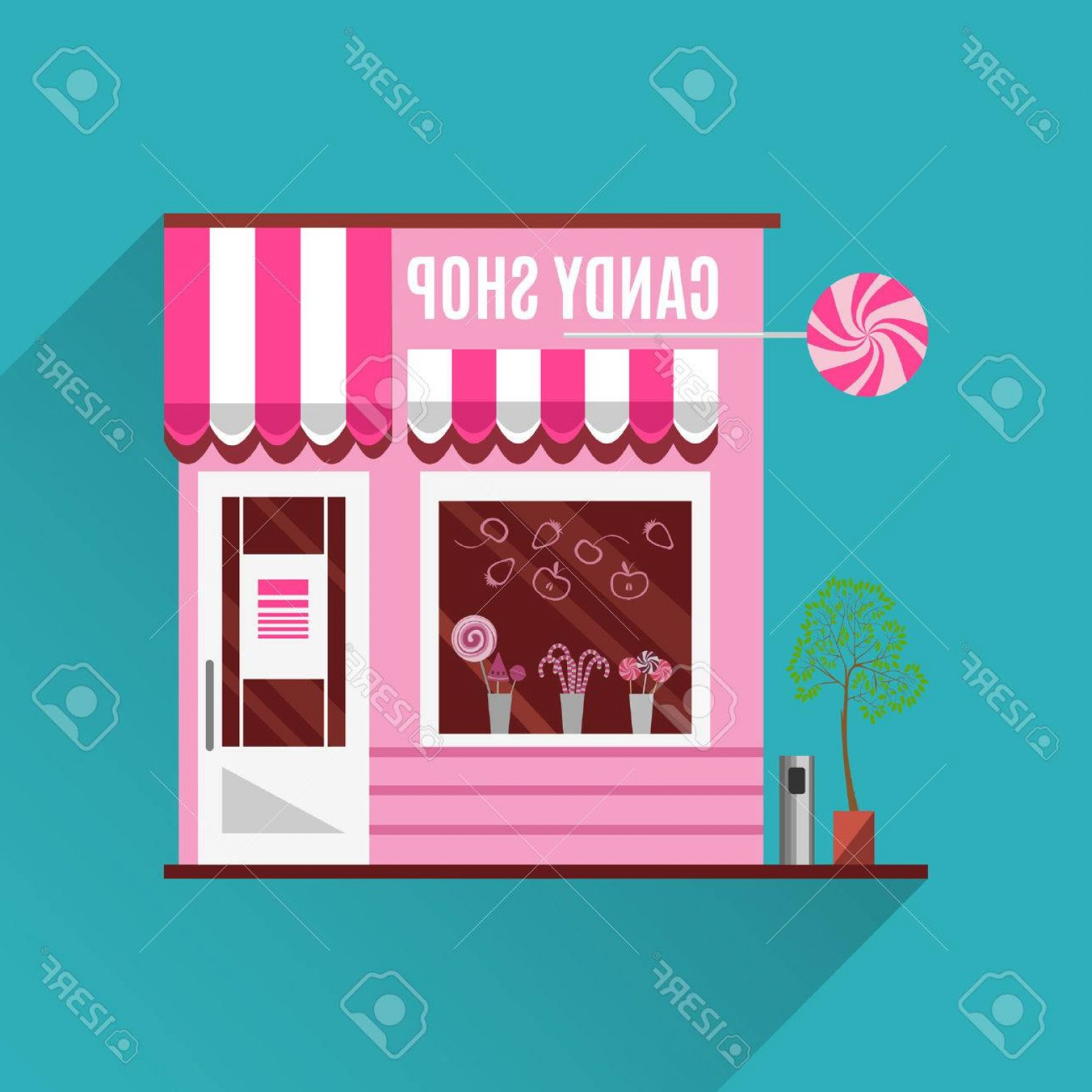 1560x1560 Photostock Vector Candy Shop In A Pink Color Flat Design Vector