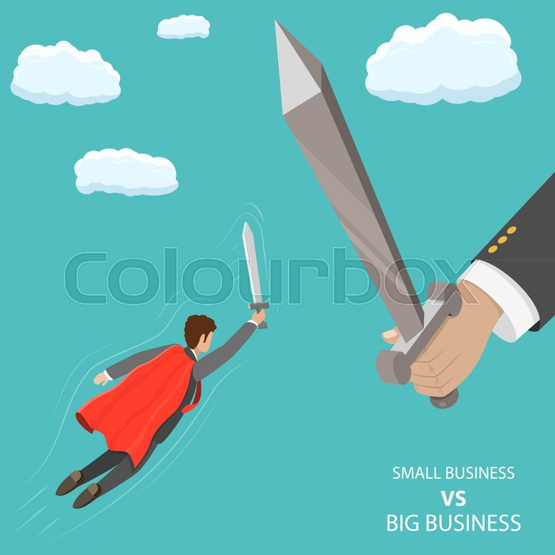 800x800 Small Business Vs Big Flat Isometric Vector Concept. A Businessman