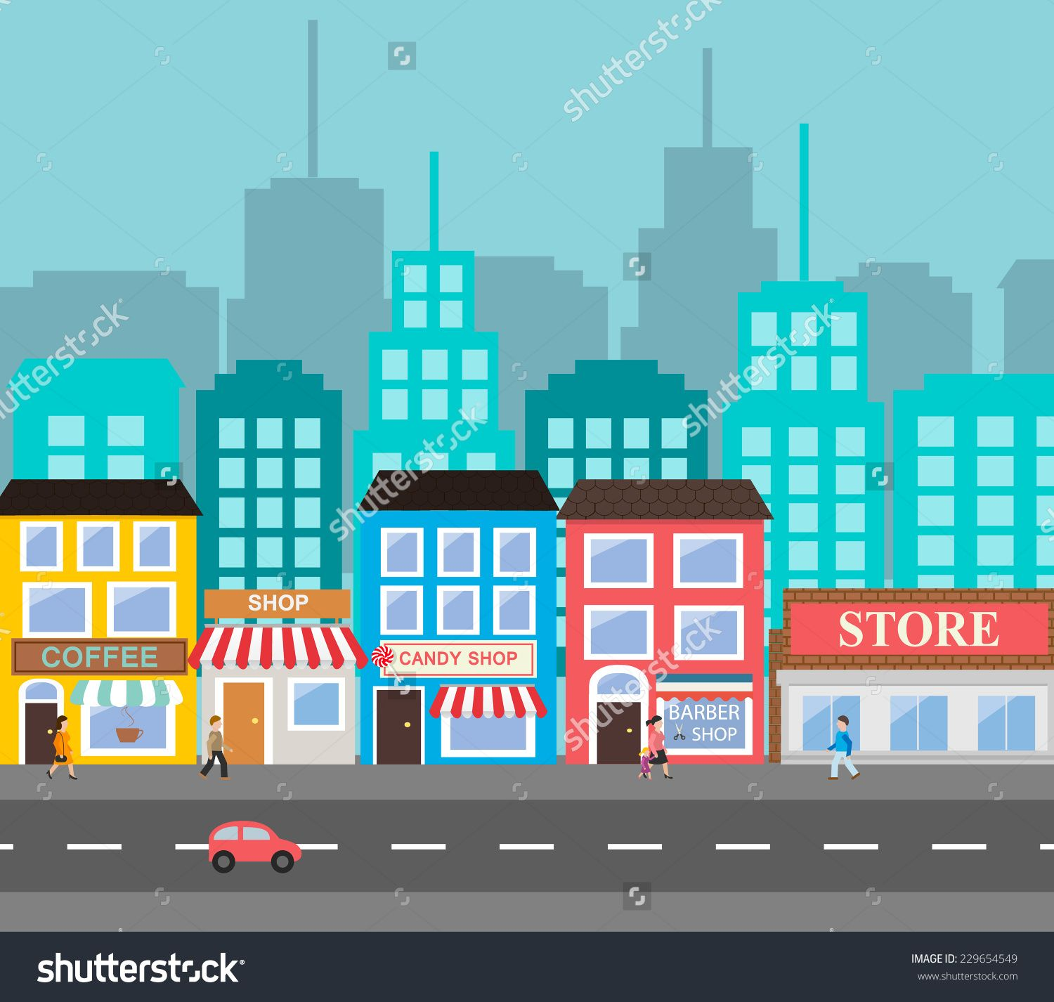 1500x1426 Small Town Urban Landscape In Flat Design Style, Vector