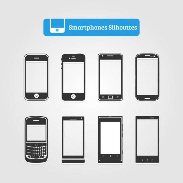 626x626 Smartphone Silhouette Collection Vector Free Download