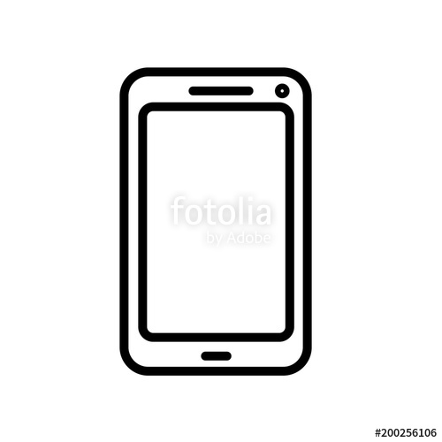 500x500 Smartphone Icon Isolated On White Background Stock Image And