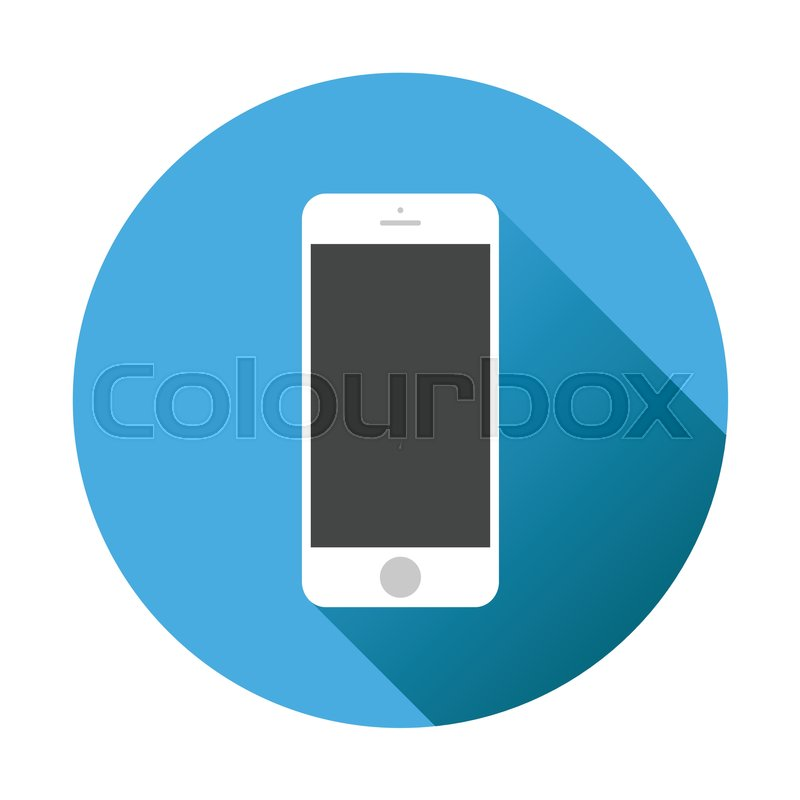 800x800 Smartphone Icon. Vector Illustration On Blue Background With