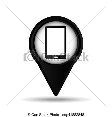 450x470 Smartphone Map Pin Icon Vector Illustration Eps 10.