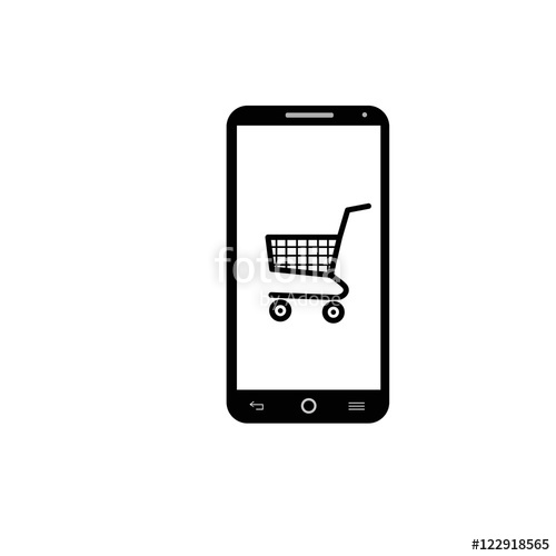 500x500 Smartphone Shopping Icon Vector Stock Image And Royalty Free
