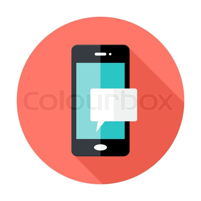 800x800 Illustration Of Smartphone Notification Flat Circle Icon Stock