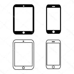 300x300 Stock Illustration Black Outline Smartphone Icon Vector Arenawp