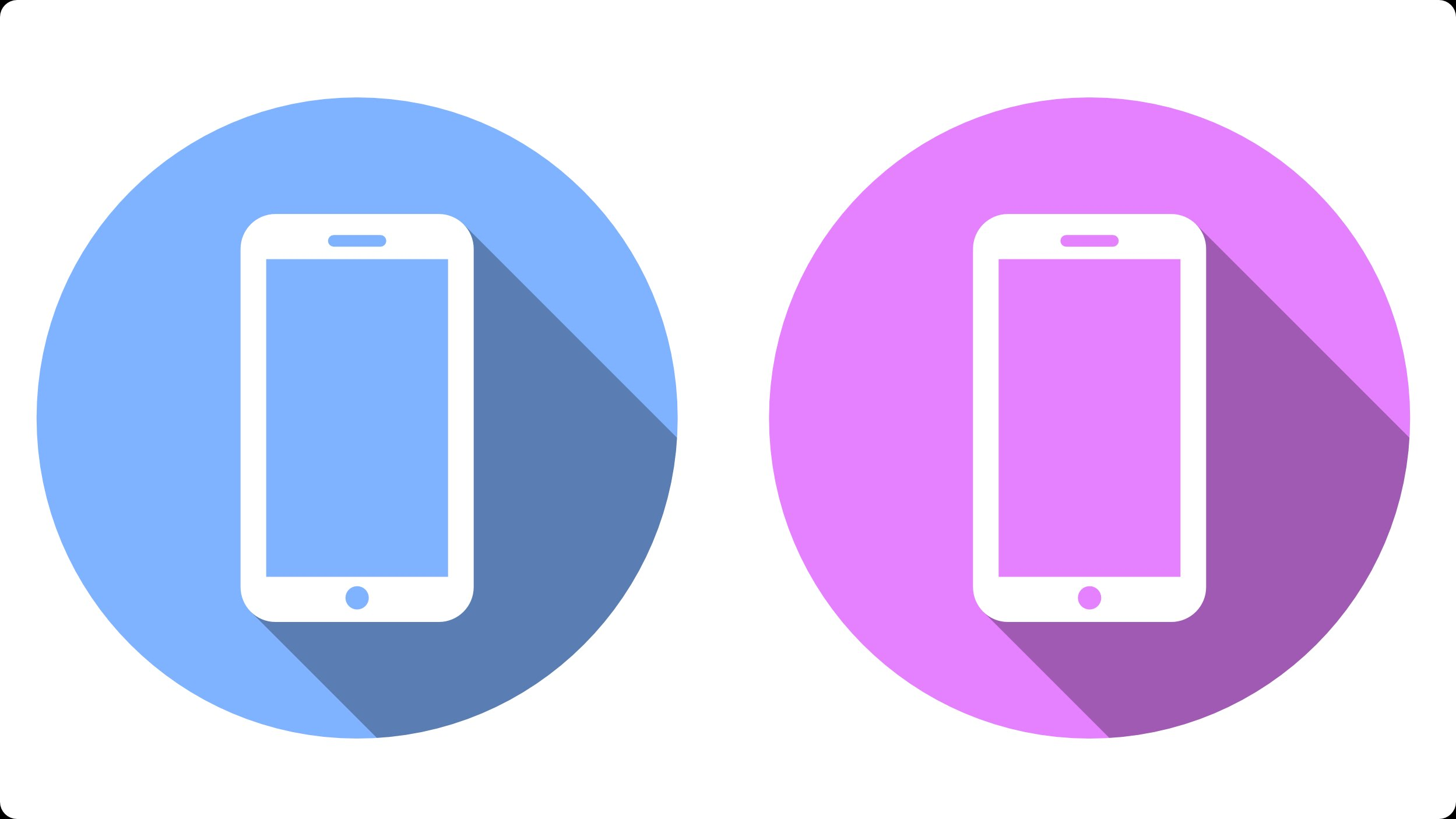 2498x1405 Smartphone Flat Icon Vector Graphic