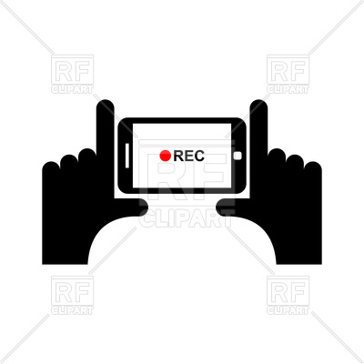 400x400 Horizontal Video Sign. Hand And Smartphone To Shoot Video Vector