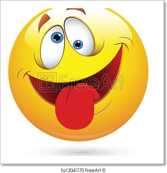 561x581 Free Art Print Of Tongue Out Funny Smiley Face Vector. Conceptual