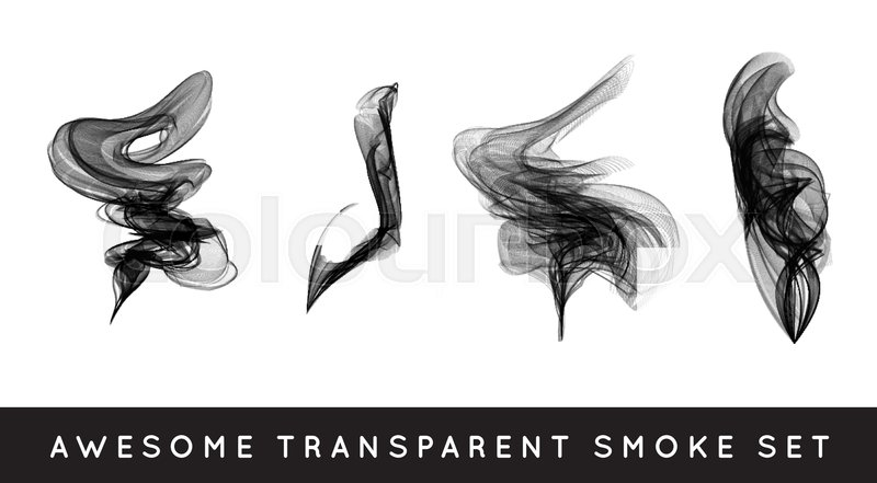 800x441 Set Of Digital Realistic Smoke Vector Illustration, Curly Smoke