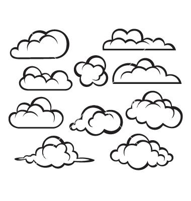 380x400 Drawn Clouds Vector Art