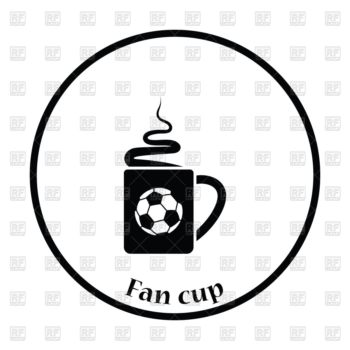 1200x1200 Icon Of Football Fans Coffee Cup With Smoke Vector Image Vector