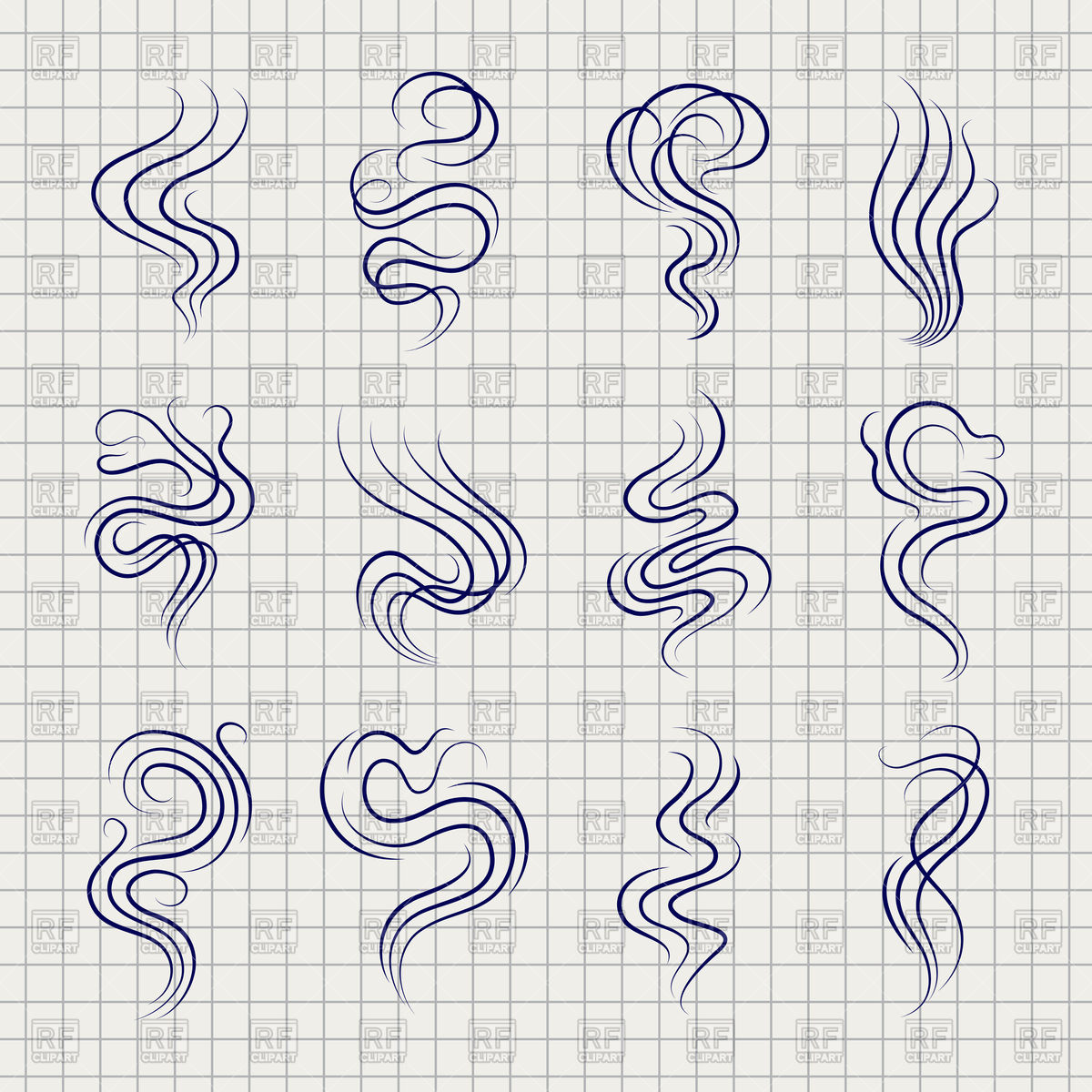 1200x1200 Smoke Smell Line Icons On Notebook