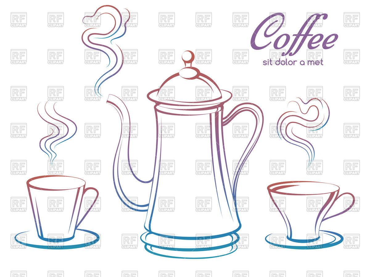 1200x900 Soffee Pot And Cups With Smoke Vector Image Vector Artwork Of