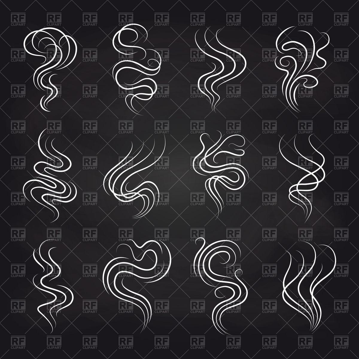 1200x1200 White Smoke Icons Set On Black Background Vector Image Vector