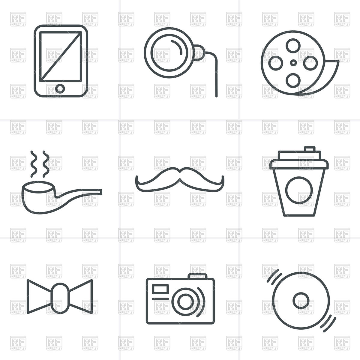1200x1200 Hipster Icons Set Moustache, Camera, Smoking Pipe Vector Image