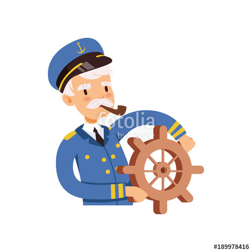 500x500 Captain Character Behind The Wheel, Sailor In Blue Uniform Smoking