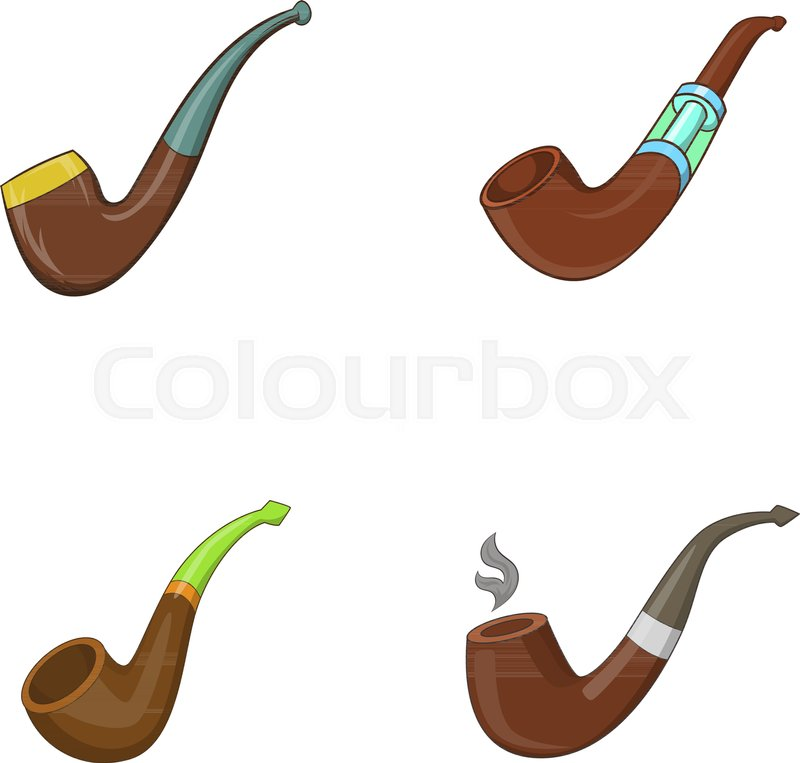 800x763 Smoking Pipe Icon Set. Cartoon Set Of Smoking Pipe Vector Icons