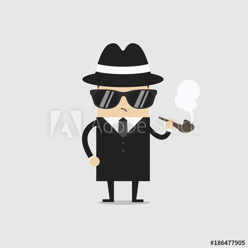 500x500 Detective Man Character Smoking Pipe. Vector