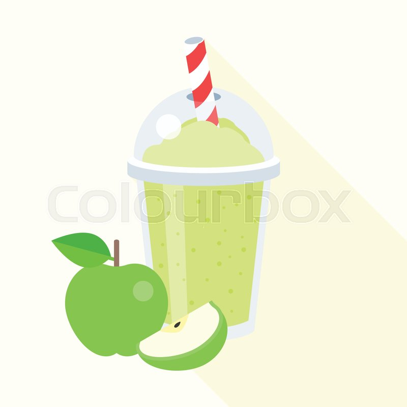800x800 Green Apple Smoothie Vector Illustration, Apple Juice, Flat Design