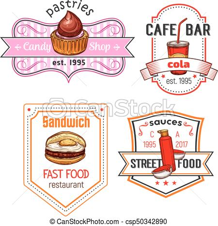 450x467 Fast Food Vector Snack Meal And Desserts Icons Set. Fast Food Cafe