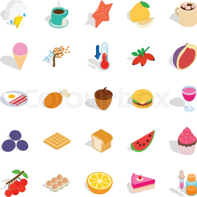 800x799 Fruit Snack Icons Set. Isometric Set Of 25 Fruit Snack Vector
