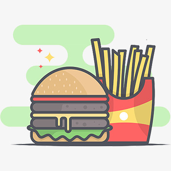 350x350 Snack Vector, Hamburger, French Fries, Two Patties Png Image And