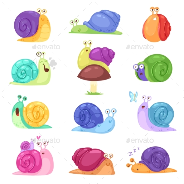 590x590 Snail Vector Snail Shaped Character With Shell By Pantimetrok
