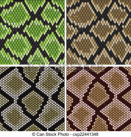 449x470 Seamless Snake Skin Patterns. Seamless Background Of Green And