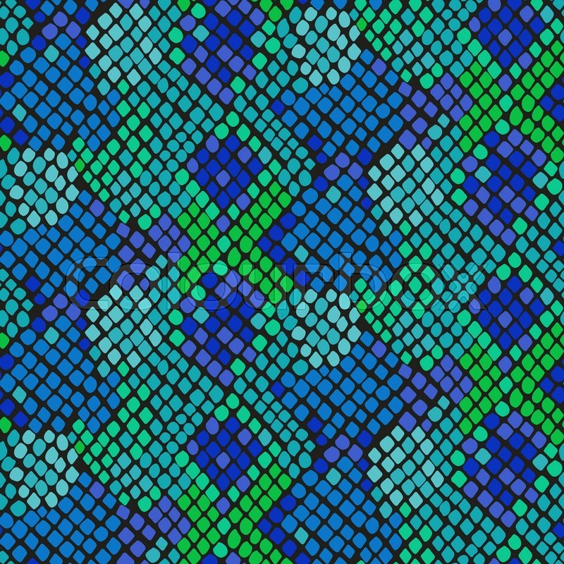 800x800 Snake Skin Seamless Vector Texture. Blue And Green Tone Colors