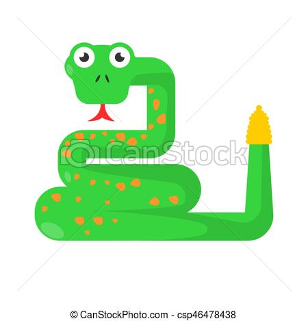 450x470 Green Twisted Snake Showing Tongue Isolated On White. Green