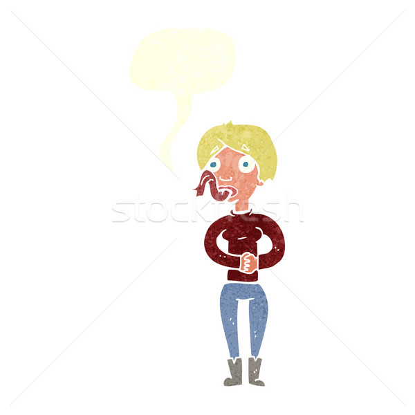 600x600 Cartoon Woman With Snake Tongue With Speech Bubble Vector