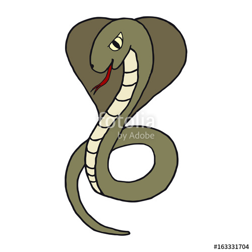 500x500 Cobra Opened Her Hood And Stuck Out Her Tongue. The Concept Of A