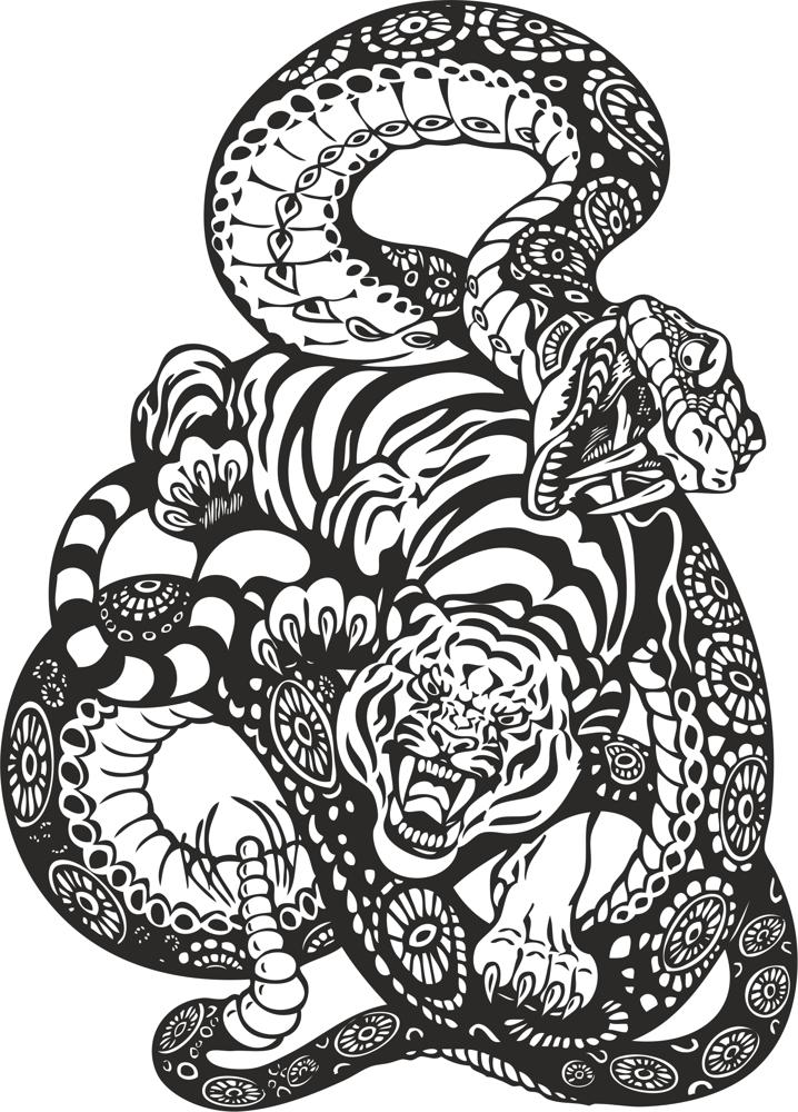 718x1000 Snake And Tiger Fight Vector Art Free Vector Download