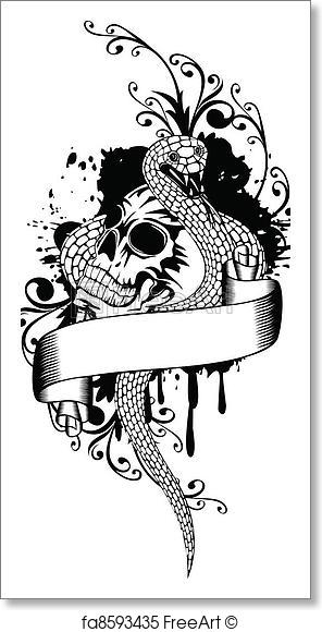 296x580 Free Art Print Of Skull And Snake. Vector Illustration Skull And