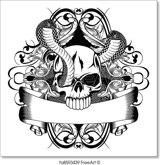 561x581 Free Art Print Of Skull And Two Snake. Vector Illustration Skull