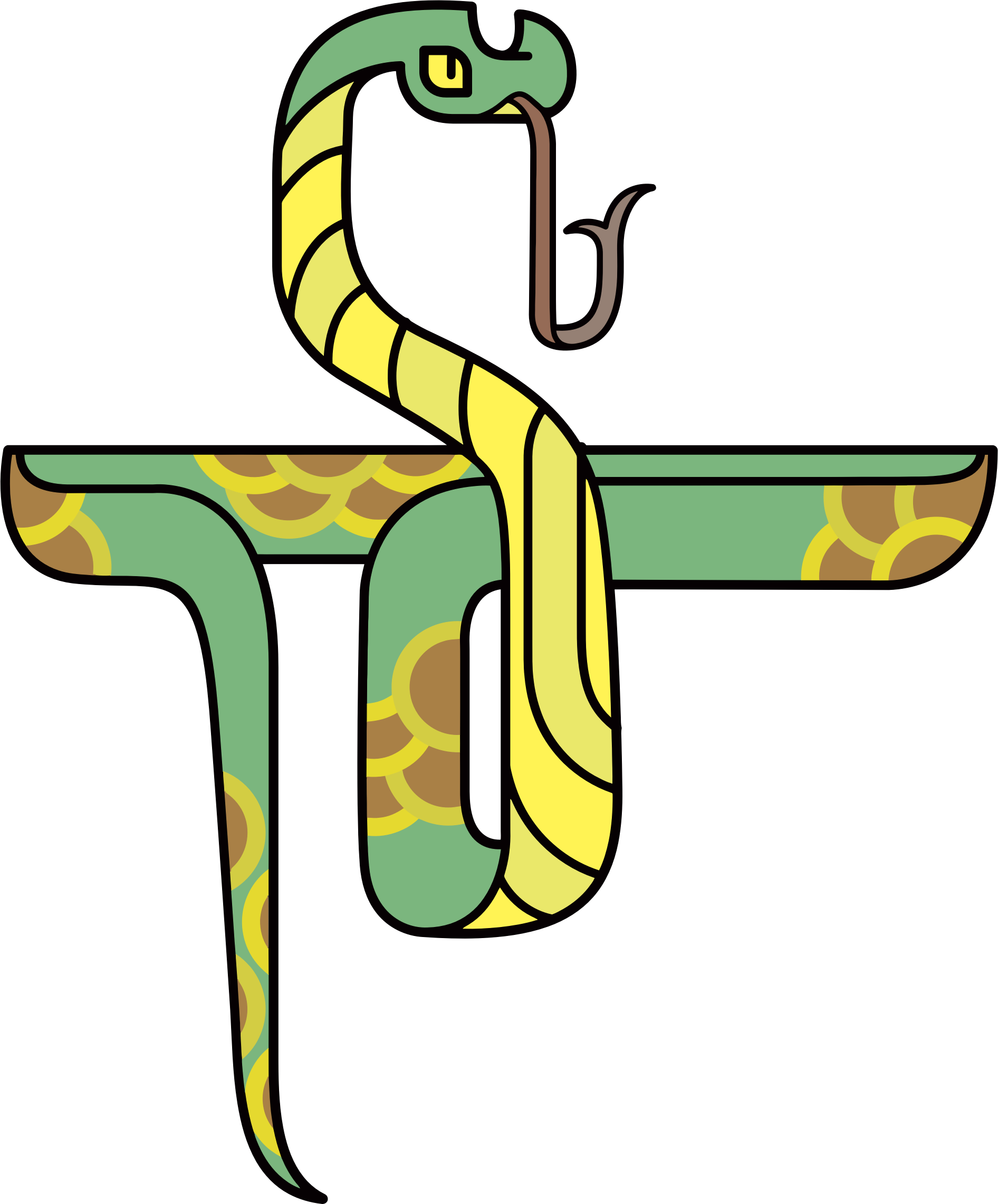 1892x2282 Stylized Cartoon Snake Vector Clipart Image