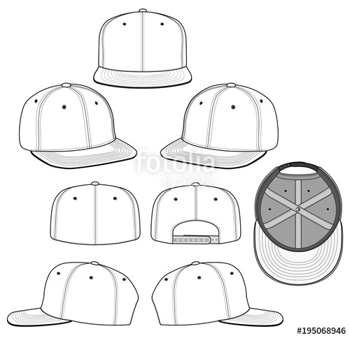 500x484 Snapback 2018 White Vector Illustration Flat Sketches Template