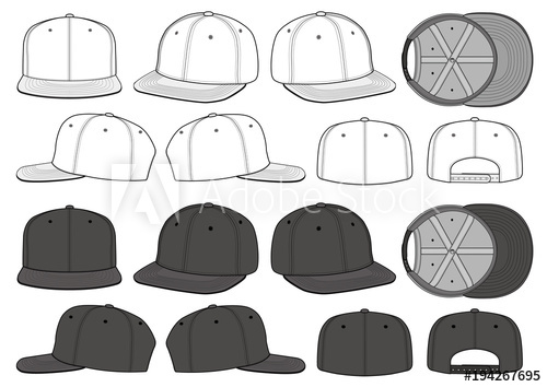 500x354 Snapback Cap Vector Illustration Flat Sketches Template