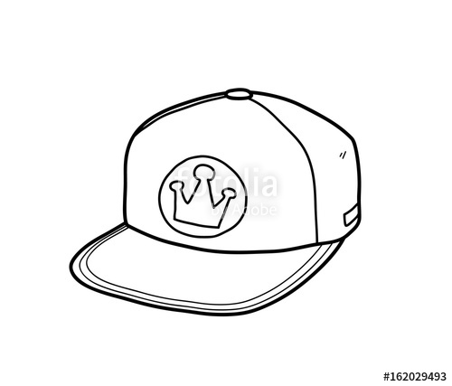 500x427 Snapback Hat, A Hand Drawn Vector Doodle Illustration Of A