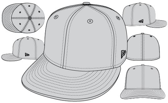 537x331 New Era Hat Template Vector