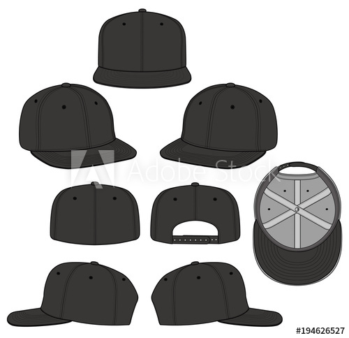 500x484 Snapback Black 2018 Vector Illustration Flat Sketches Template