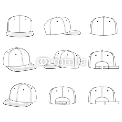 400x400 Snapback Cap Vector Illustration Flat Sketches Template Buy